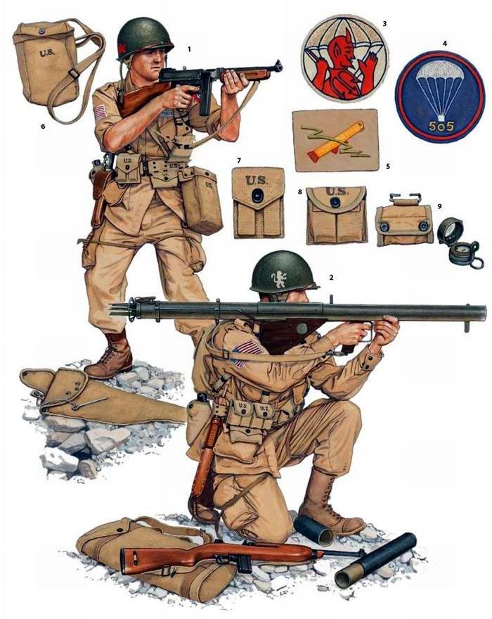 Вооружение и экипировка военнослужащих 504-го и 505-го парашютных пехотных полков армии США на Сицилии и в Италии (1943 год)