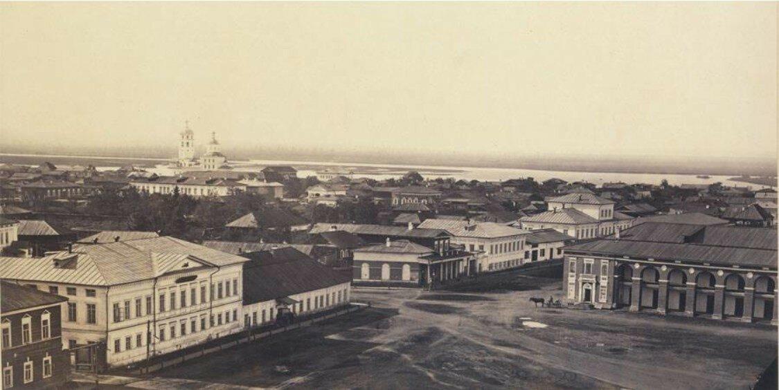 Северо-восточный угол Тихвинской площади, вид с Тихвинской колокольни. 1865