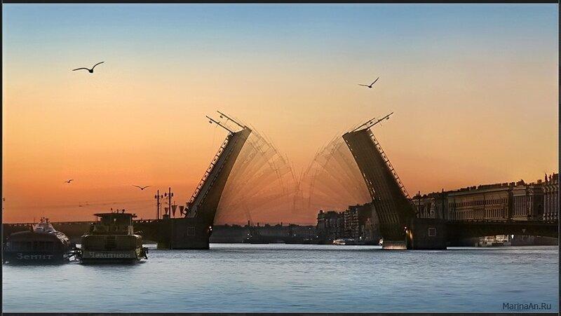 Белые ночи. Дворцовый мост.