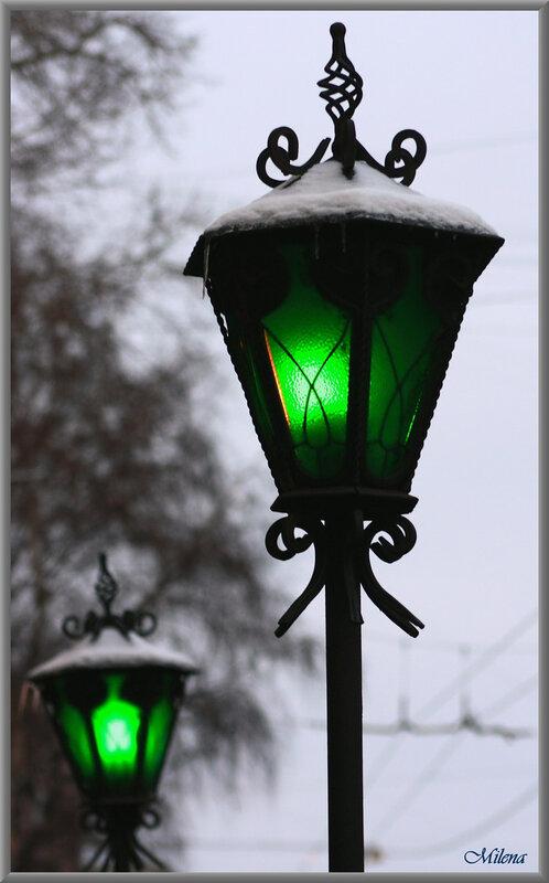 """Схема вышивки  """"Улица Зеленых фонарей """" ."""