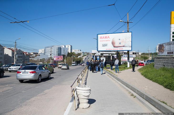 2. Старая беда Севастополя — рекламные листовки. Эти мусором обклеены все остановки, все углы домов