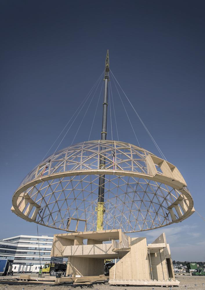 Dome of Visions Foto af Helle Arensbak torsdag d. 8. september blev andet loft foretaget pa Pier 2.
