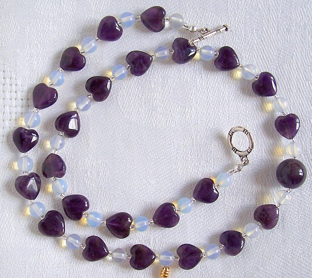 Amethyst,opalite,necklace