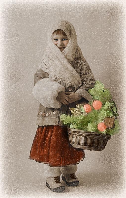 Старинная рождественская открытка.
