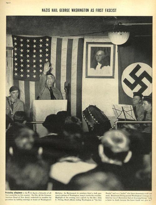 Американские фашисты салютуют Вашингтону как первому фашисту.