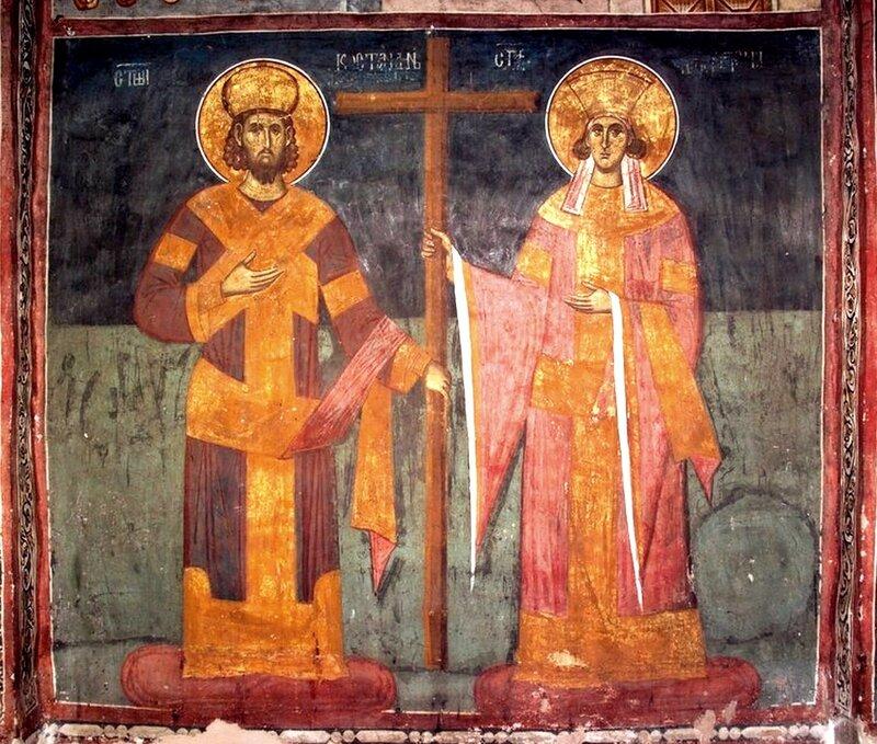 Святые Равноапостольные Царь Константин и Царица Елена. Фреска монастыря Высокие Дечаны, Косово, Сербия. Около 1350 года.