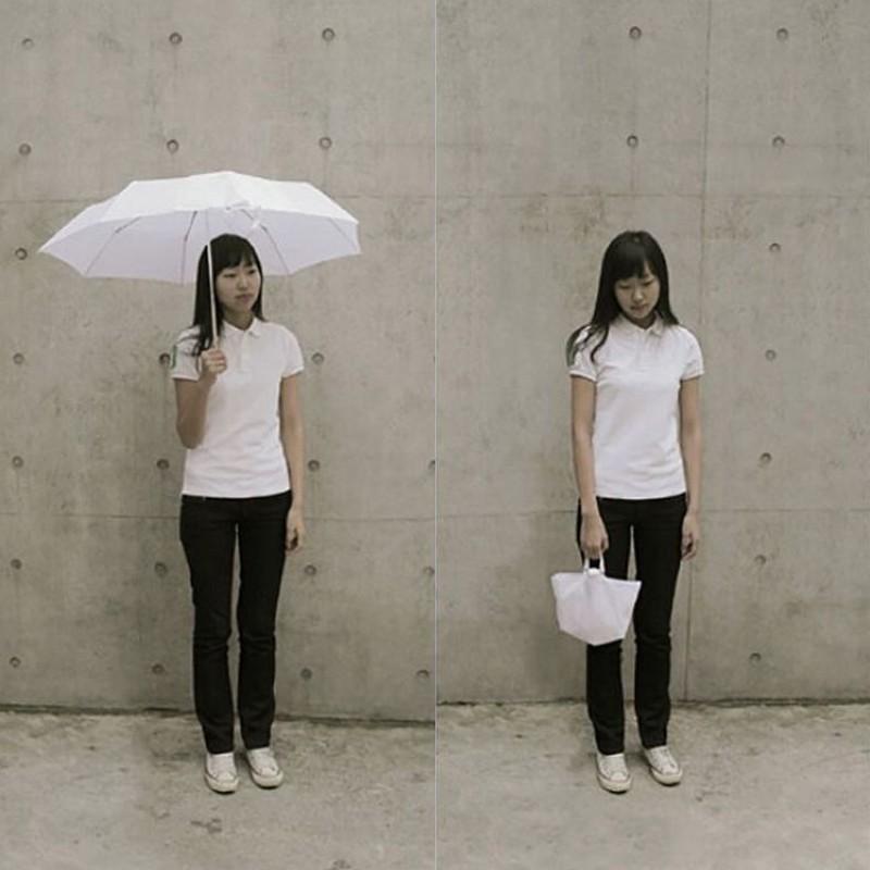 1. Зонт-сумка Зонт, который складывается в маленькую сумочку таким образом, чтобы мокрая сторона был