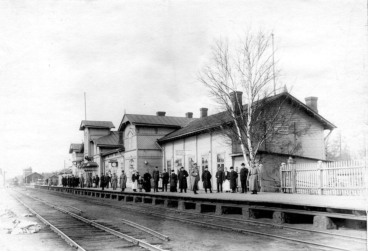 51. Публика и пограничная стража ждут прибытия поезда на станции Белоостров. 1908