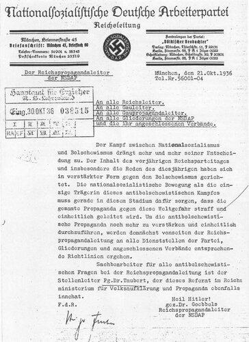 Циркуляр рейхслейтера НСДАП по пропаганде Йозефа Геббельса от 21. 10. 1936 г.