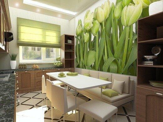 фото кухни салатово-бежевые
