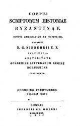 Книга Corpus Scriptorum Historiae Byzantinae. George Pachymeres