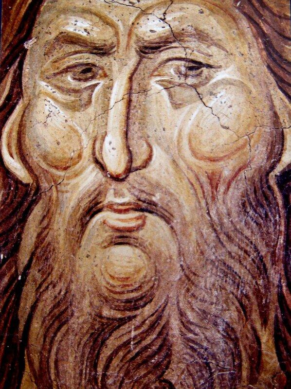 Святой Иоанн Предтеча. Фреска монастыря Высокие Дечаны, Косово, Сербия. Около 1350 года. Фрагмент.