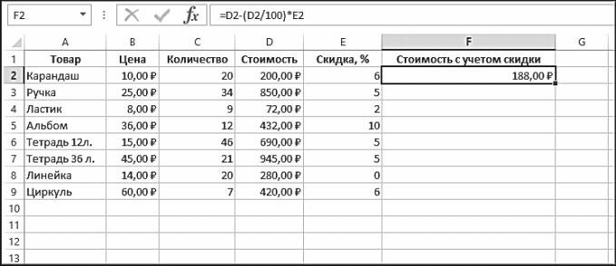 Рис. 5.42. Результат вычисления в ячейке F2