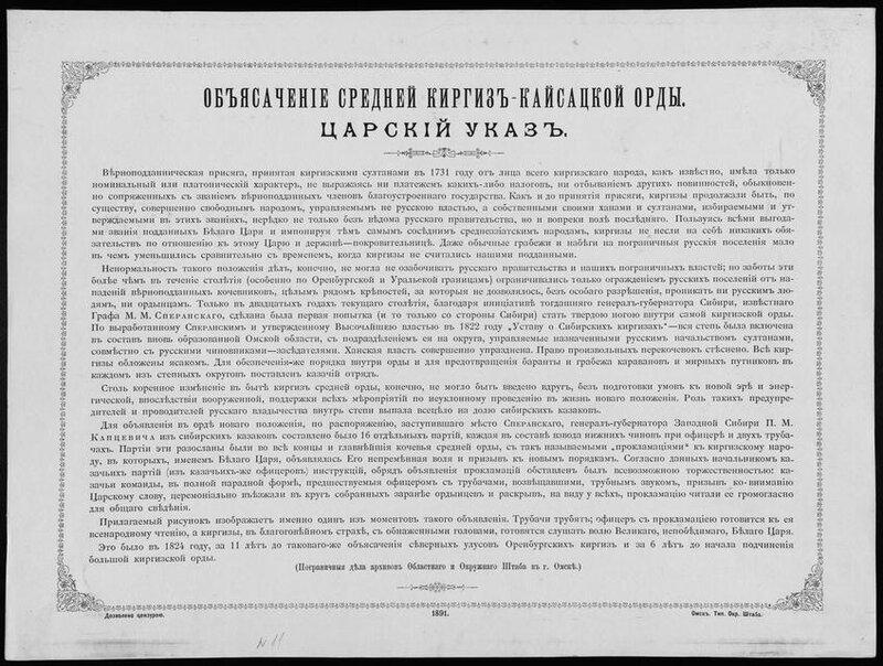 Верноподданная присяга, принятая киргизскими султанами от лица киргизского народа