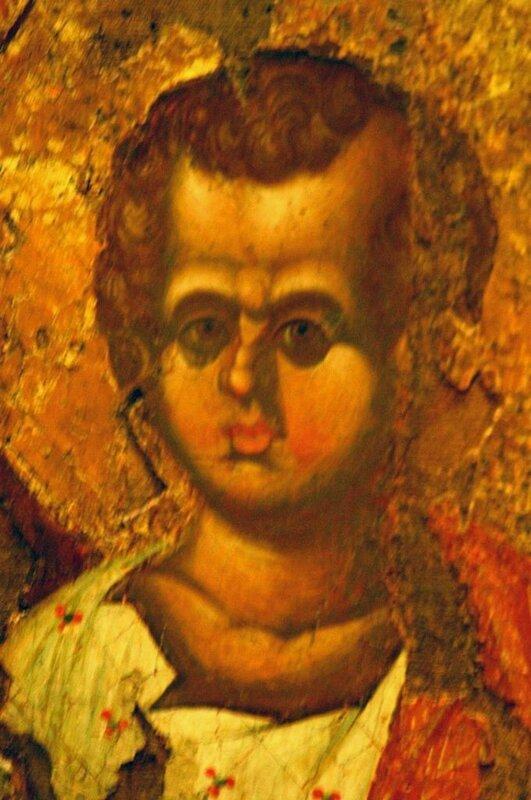 Богоматерь Одигитрия. Икона. Византия, XIII век. Византийский музей в Афинах. Фрагмент. Лик Богомладенца.