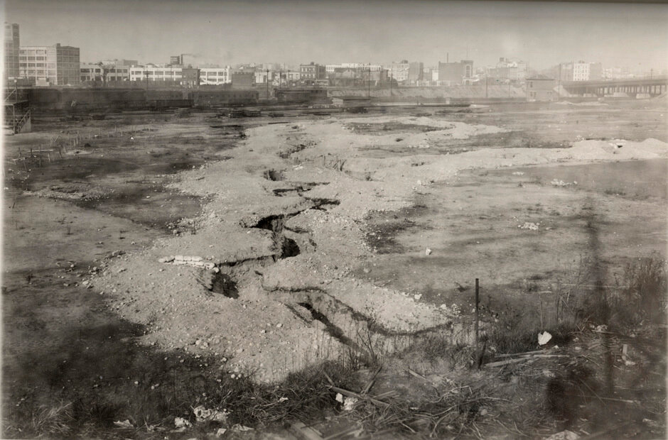 Long Island City, Field Training Section, showing general view of trench system and Long Island Railroad Yards in 1919