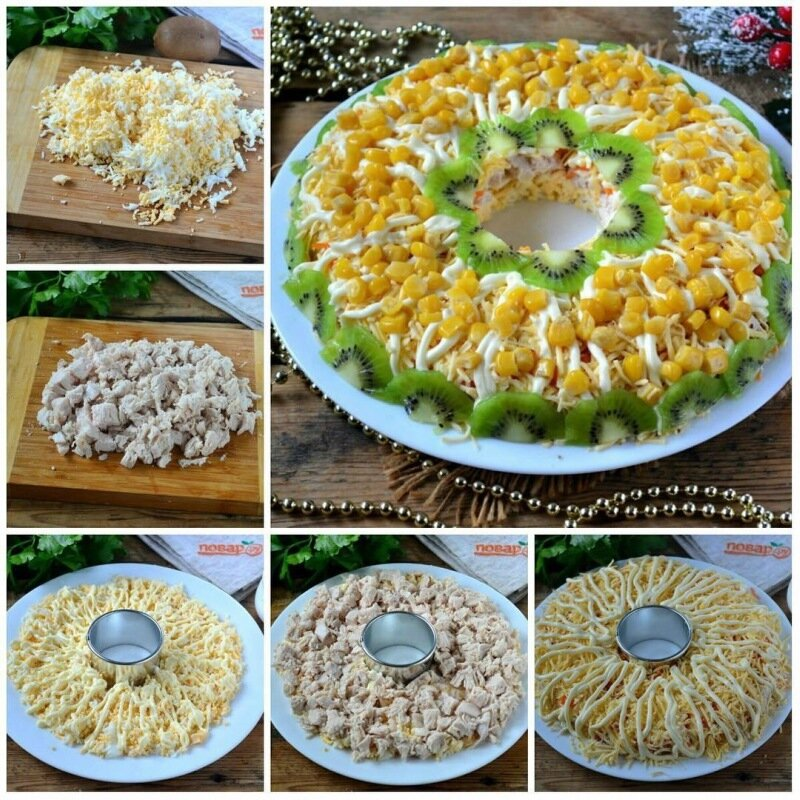 Куриный салат с кукурузой на праздничный стол