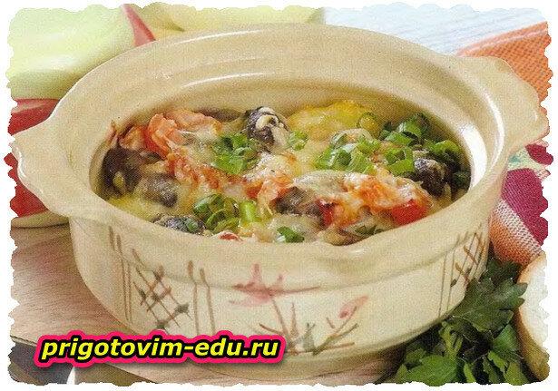 Жаркое со свининой и грибами в СВЧ-печи