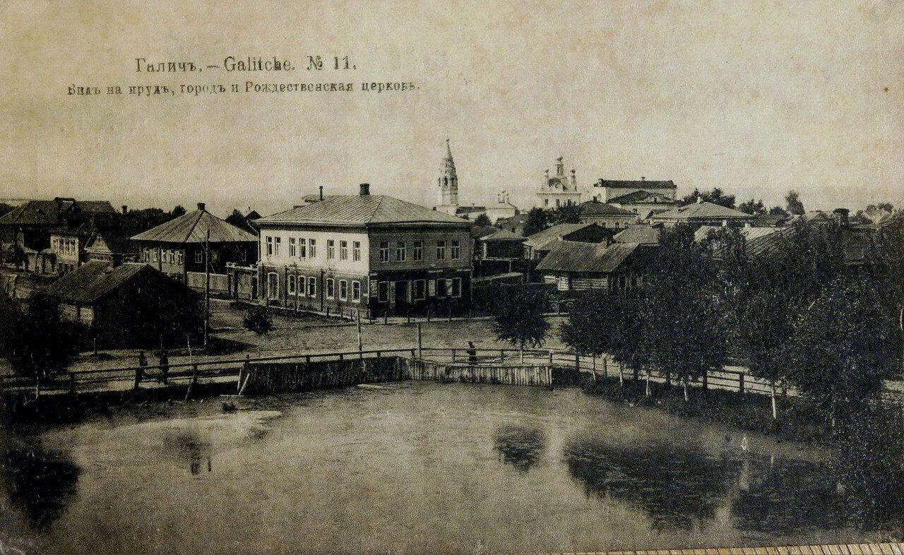 Вид на пруд, город и Рождественская церковь