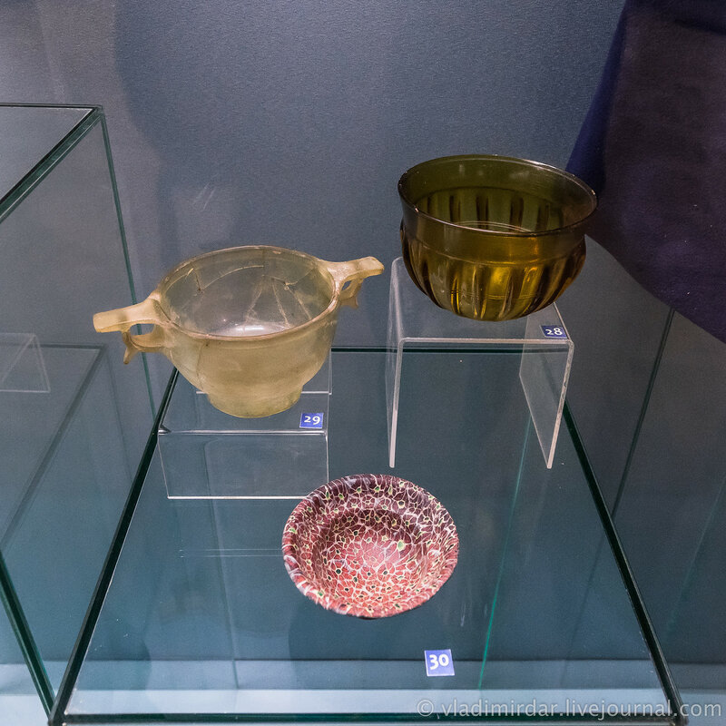 Чаша, скифос и фиала. Стекло. Вторая четверть I в. до н.э. - начало I в. н.э.