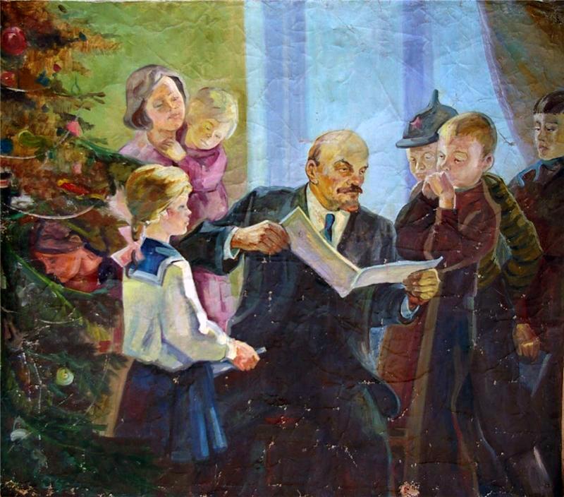 Ленин и елка открытки