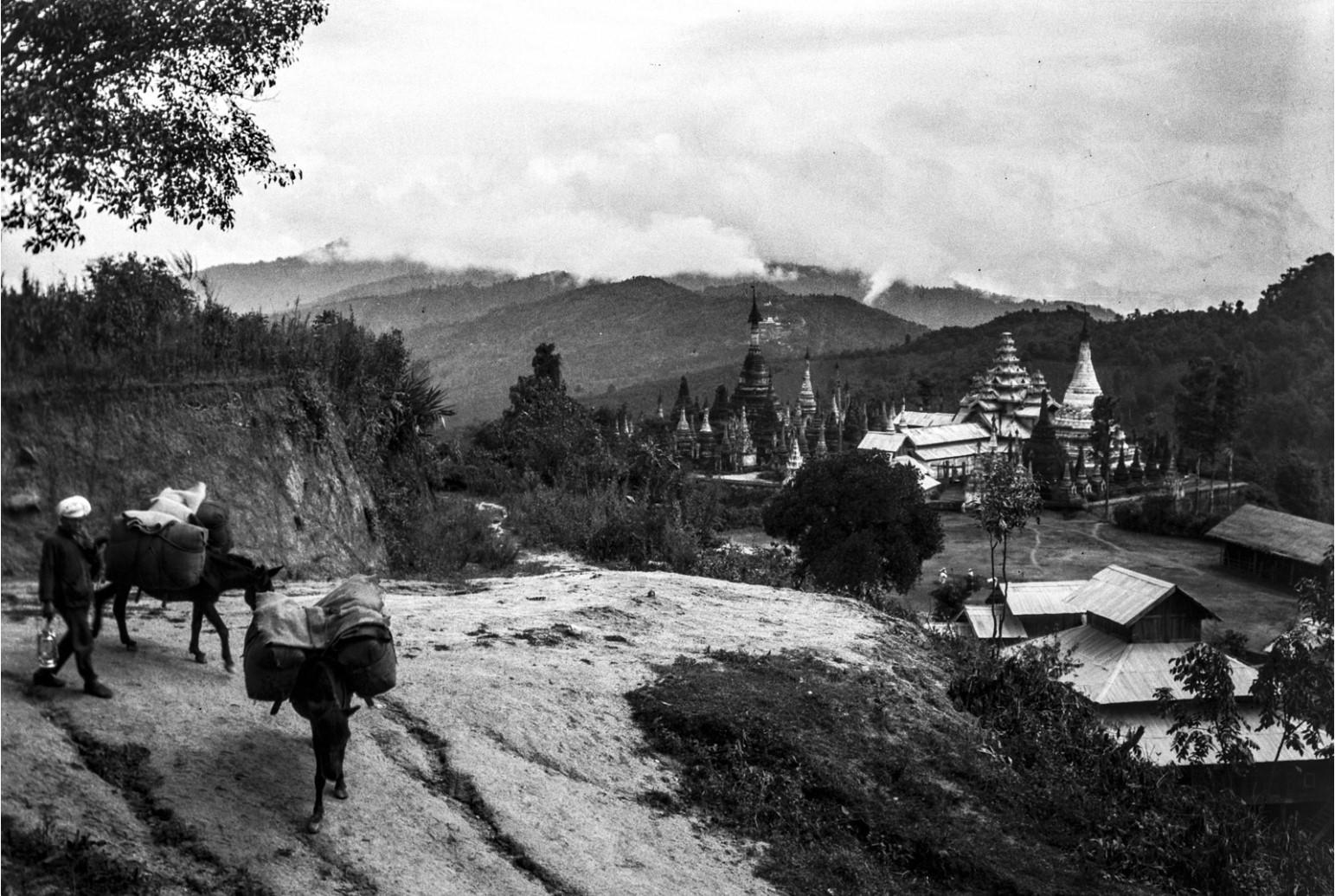 892. Вид на горную долину с пагодами в районе города Нансхан