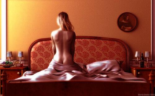 фото голых женщин на кровати сверху