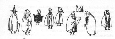 Иллюстрация Туве Янссон к Хоббиту Толкиена (Гномы и Гэндальф)
