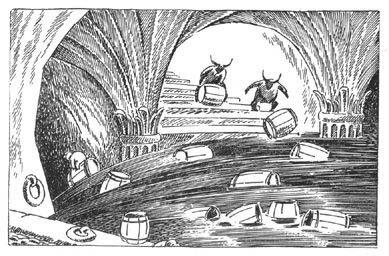 Иллюстрация Туве Янссон к Хоббиту Толкиена (В бочках на волю)