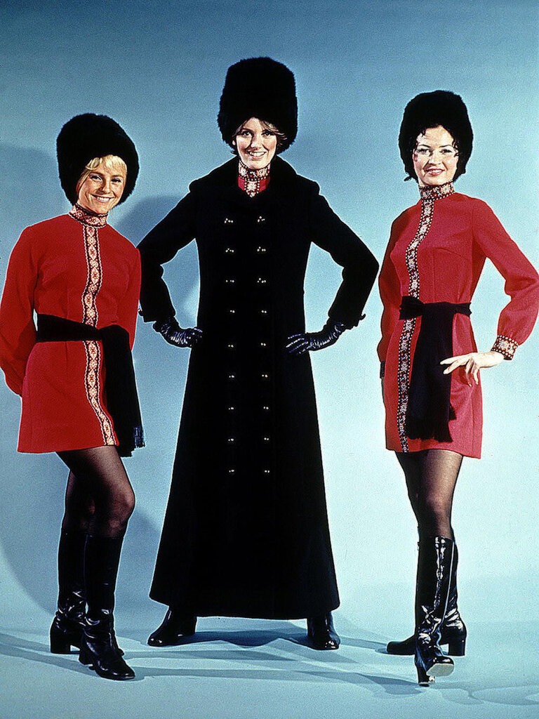 Alaska Airlines flight attendants wore 'Golden Samovar Service' uniforms in the early 1970s.jpg