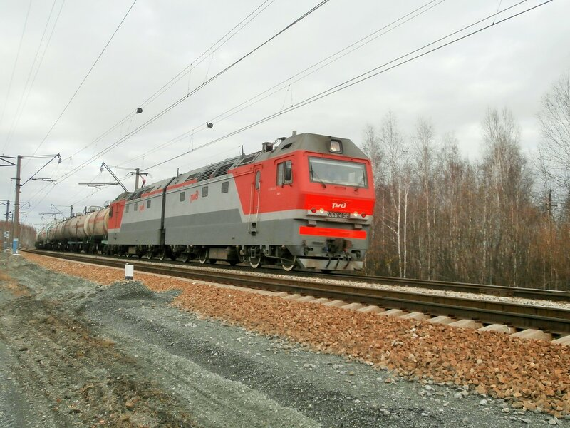 Электровоз 2ЭС6-458 на перегоне УАЗ - Пост 19 км