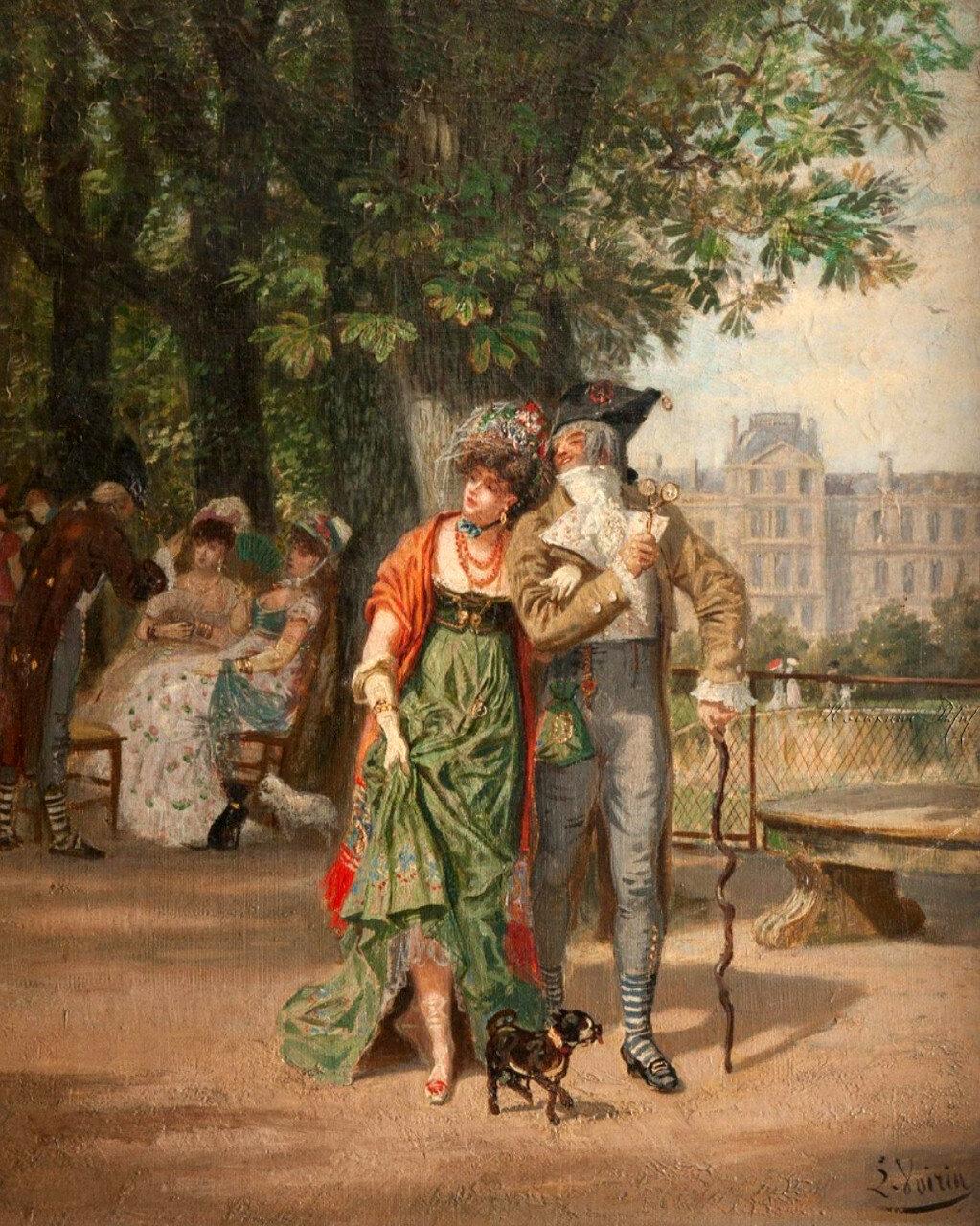 2-Léon Joseph VOIRIN (1833-1887)Promenade au jardin des Tuileries..jpg