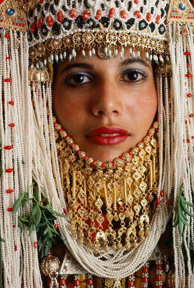1985 A Yemeni Jewish bride near Gaza wears a wedding costume styled centuries ago by James Stanfield.jpg