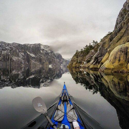 Норвежские фьорды - фото из каяка