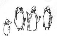 Иллюстрация Туве Янссон к Хоббиту Толкиена (Бильбо и гномы)
