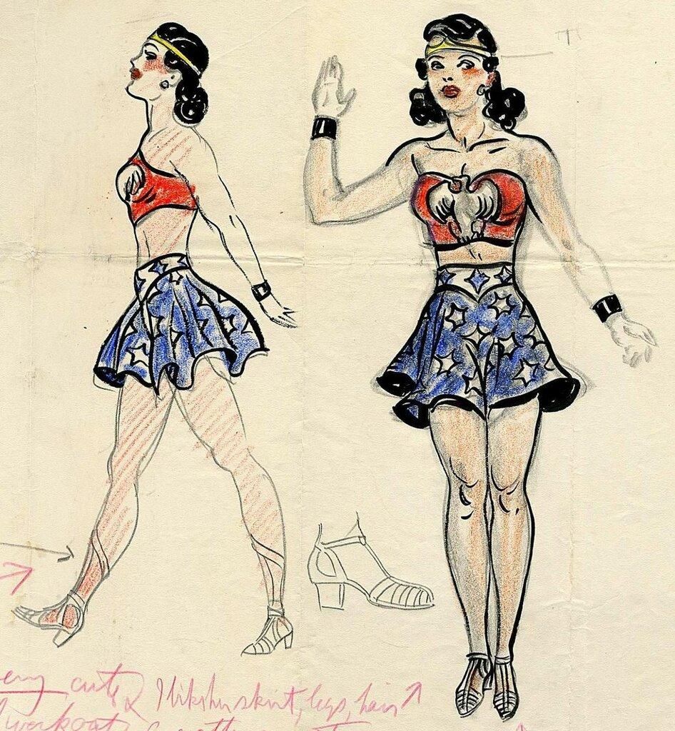H.G. Peter's original Wonder Woman design drawings, circa 1940.jpg