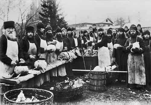 Monks prepare cabbage for the winter at the Smolensk Monastery of St. Zosima, Vladimir Region, 1900's..jpg