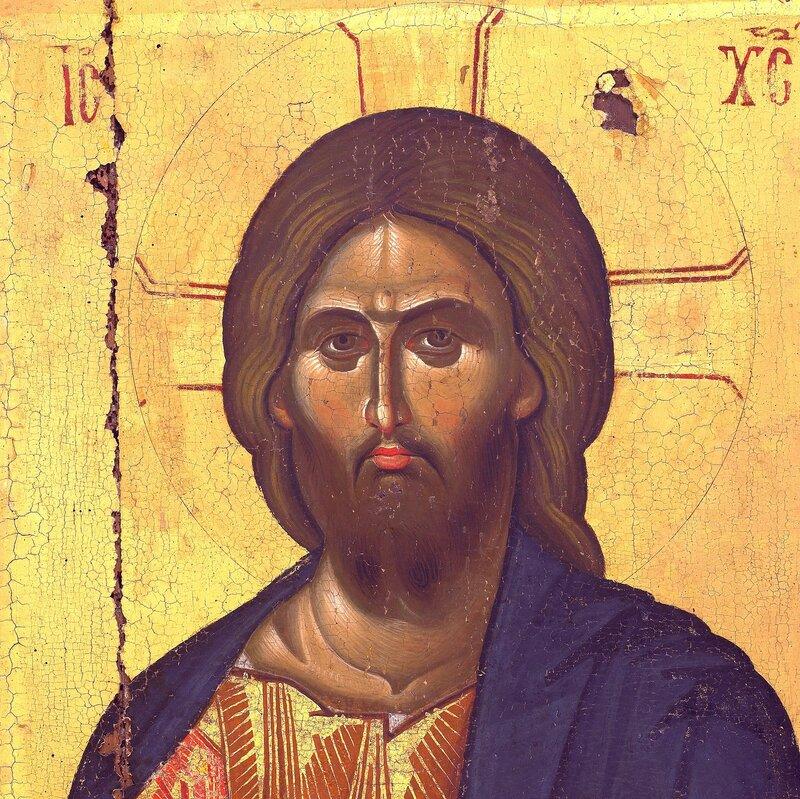 Лик Спасителя. Фрагмент византийской иконы в монастыре Ватопед на Святой Горе Афон.