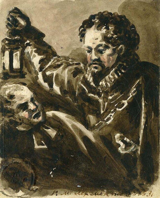 Испанец с фонарем и католический монах. Рисунок акварелью.1831.jpg
