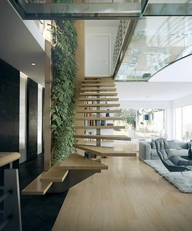 Лестница для дома на второй этаж дизайн фото 1