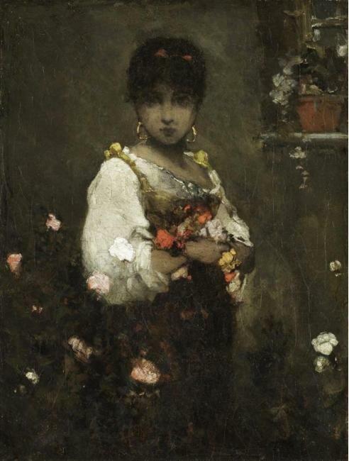 Восточная красавица с цветами