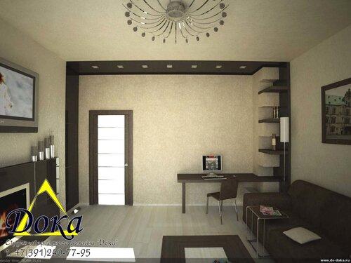 Дизайн в двухкомнатной квартире зала