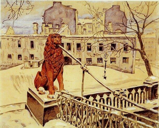 Mstislav Dobuzhinsky (1875-1957) The Lion Bridge in Petrograd Signed with monogram and dated 1922