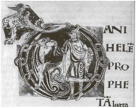 Буквица из пролога к книге пророка Даниэля в латинской Библии 12 в. Франция. Внутри буквы изображен первый зверь в видении Даниэля (7:4). Городская библиотека. Реймс.