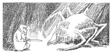 Иллюстрация Туве Янссон к Хоббиту Толкиена (Бильбо и паук)