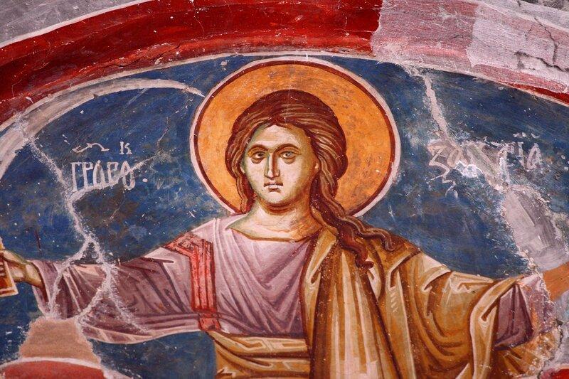 Святой Пророк Захария Серповидец. Фреска XIV века в комплексе Печской Патриархии, Косово, Сербия.