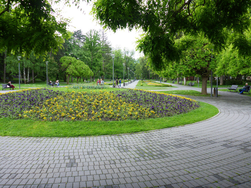 цветы на клумбе в парке Врнячка Баня