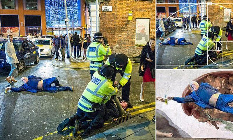 Новогодний снимок пьяного британца превратился в настоящий «арт-мем»