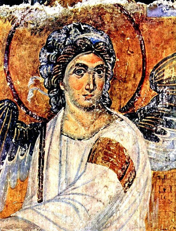 Явление Ангела жёнам-мироносицам. Фреска монастыря Милешева (Милешево), Сербия. До 1228 года. Фрагмент. Белый Ангел.