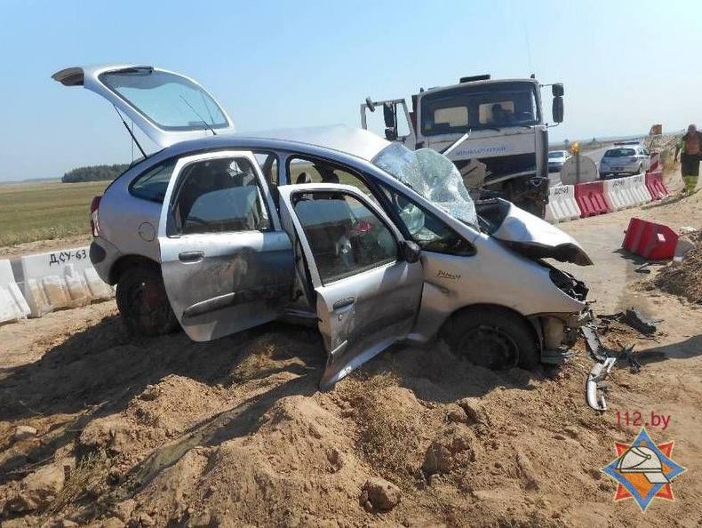 В Бобруйском районе произошло лобовое столкновение'Ситроена и'МАЗа